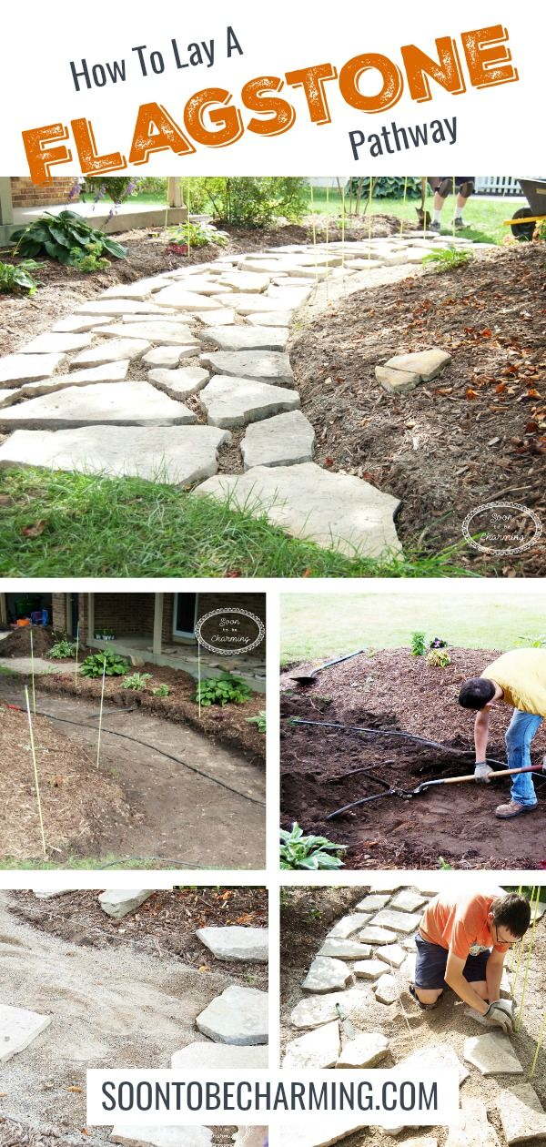 How To Lay A Flagstone Pathway! A perfect DIY project. We'll lay out step by step how we made our walkway. I absolutely love our finished product!! #soontobecharming #flagstone #pathway #walkway #DIY #frontyard
