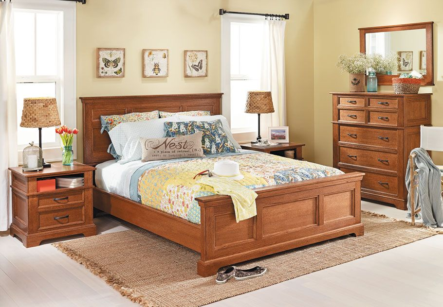 Bedroom Set Oak Bed Woodsmith Plans The Showpiece Of Any Bedroom Suite Is The Bed This Oak Bed Features Rock Oak Beds Bedroom Set Wood Bedroom Furniture