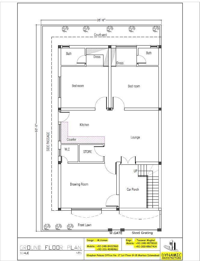 House plan drawing 35x60 islamabad design project for 3d plan drawing