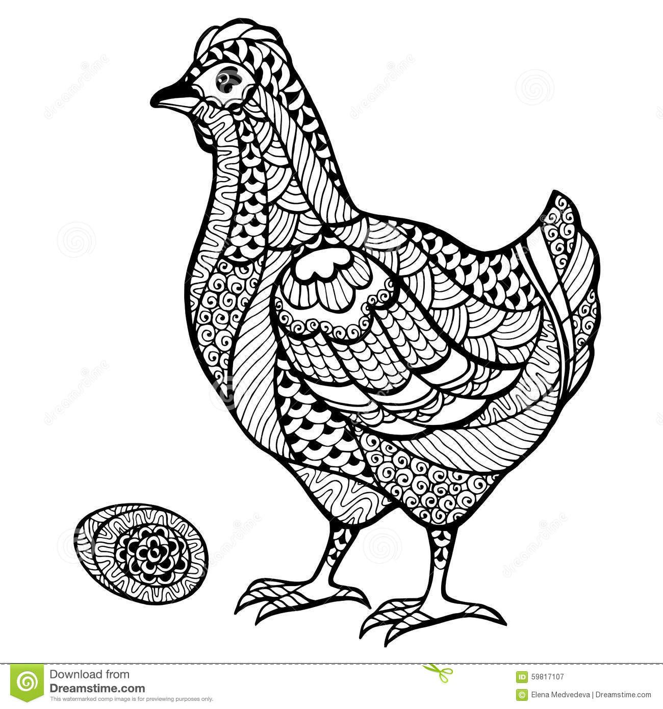 Zentangle Stylized Chicken With Egg Zentangle Chicken Coloring Animal Coloring Books