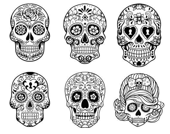 Sugar Skull SVG collection,Candy Skull Svg Dxf, Sugar