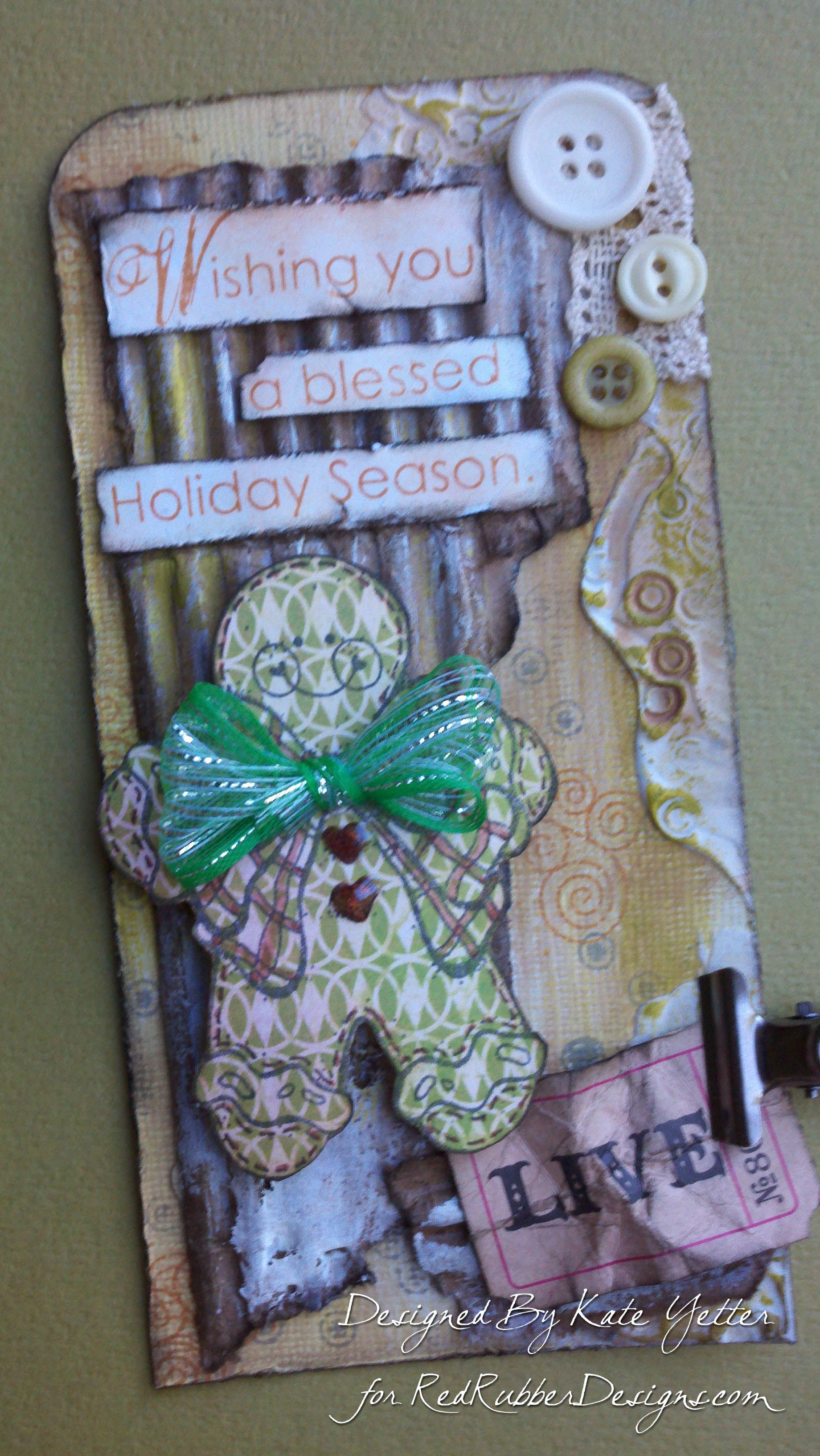 Holiday Tag ~*~ Ginger Joy rubber stamp ~*~ Holiday Wishes rubber stamps set ~*~ More Mimi patterned cardstock collection ~*~ from Red Rubber Designs www.RedRubberDesigns.com