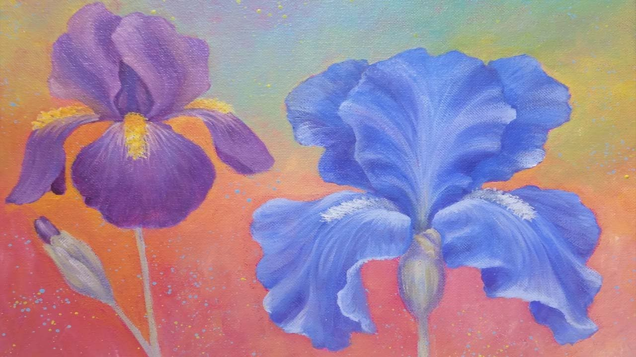 Iris Flower Acrylic Painting Instruction How To Paint Irises Angelooney Floral Iris Painting Painting Floral Painting