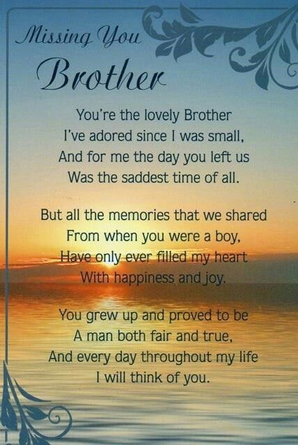 Pin by Jennifer Johnson on Heavenly Brother Birthday, Prayers, Holidays &  Quotes | Brother quotes, Brother birthday quotes, Brother poems