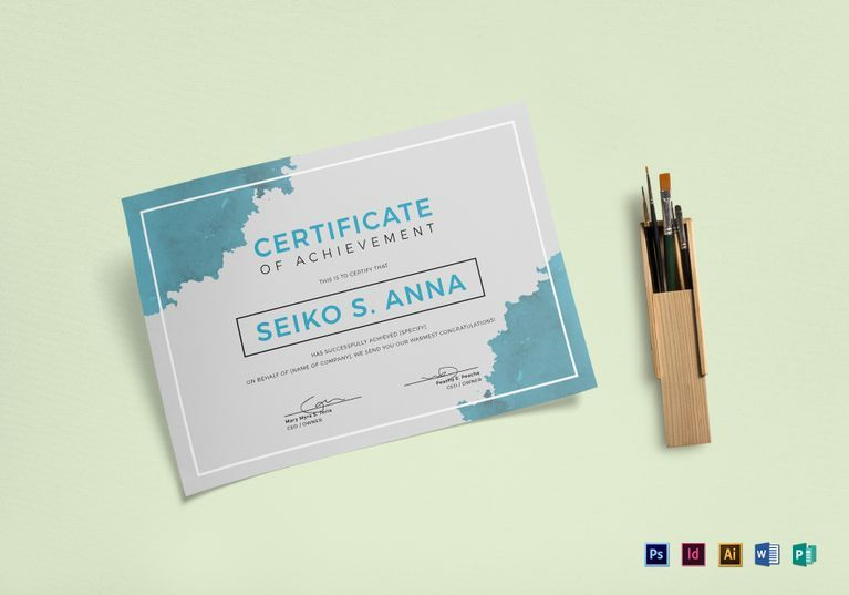 Certificate Of Achievement Word Template New Blue Watercolor Achievement Certificate Template  Pinterest .
