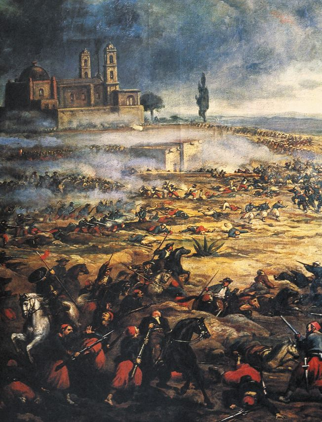 Masses Of Dead Lie Strewn About The Battlefield At Puebla As Mexican Lancers Attack Red Pantalooned Zouaves Cinco De Mayo Puebla Mexican Army