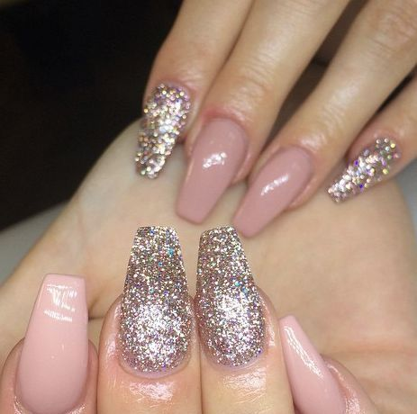 Gorgeous Blush Pink And Silver Coffin Nails Wowza I Want These Pink Nails Pink Nail Art Nail Designs