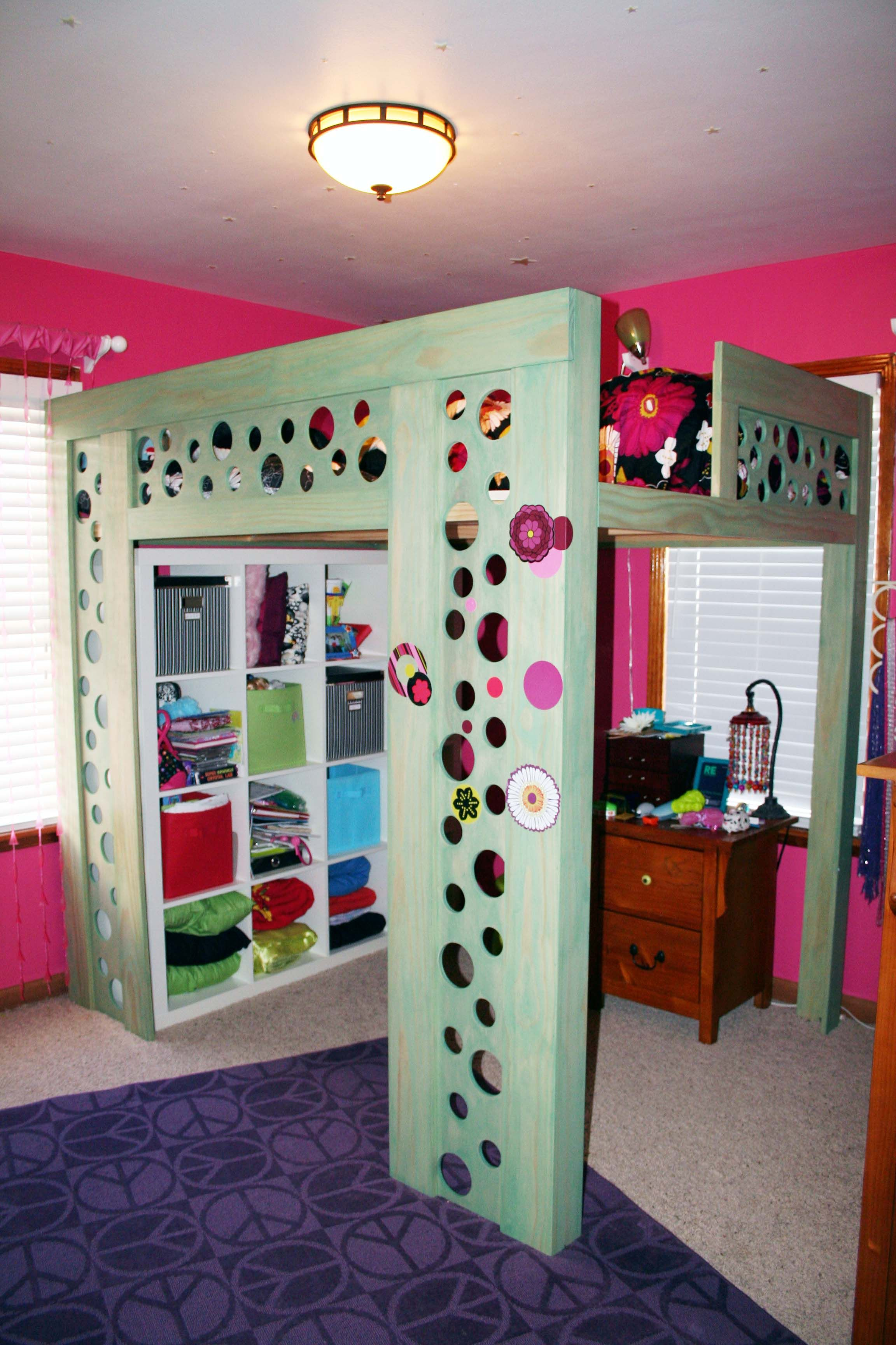 Coolest Loft Bed EVER!!! IKEA Storage underneath is awesome to keep room  nicely