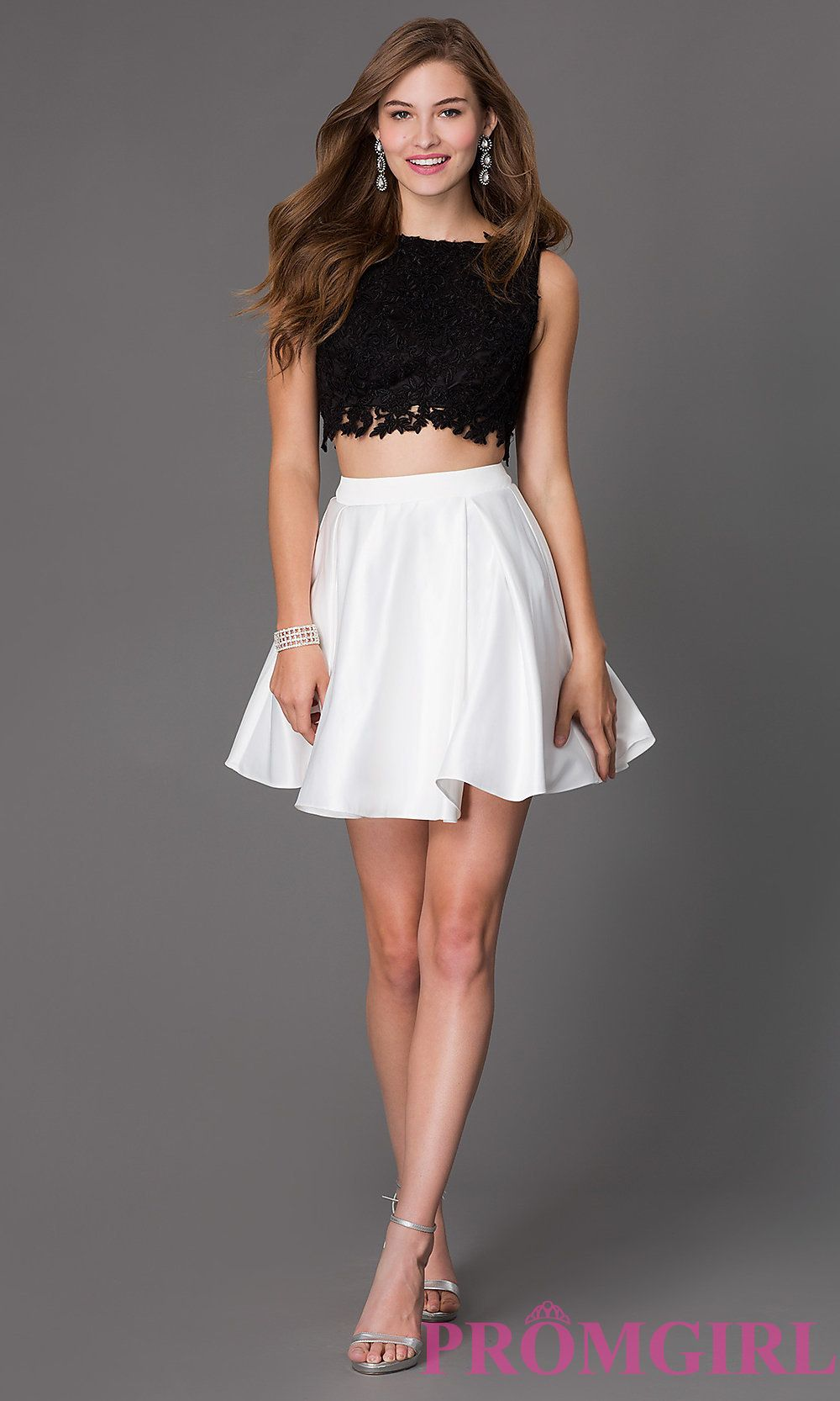Image of short aline two piece sleeveless lace bodice dress Detail