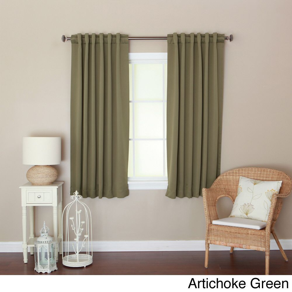 Aurora Home Solid Insulated Thermal Blackout 63 Inch Curtain Panel Pair Artichoke Green