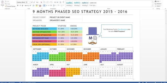 Phased SEO Strategy Free MS Word Template - Marketing Uncle - seo plan template