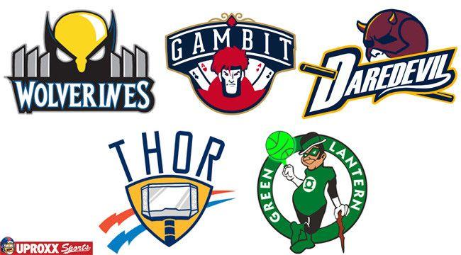 Nba Logos Redesigned As Superheroes Nba Logo Funny Nba Memes Logo Redesign