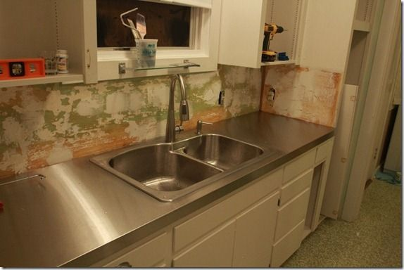 Couple created plywood countertop pattern and then took to for Stainless steel sheets for kitchens