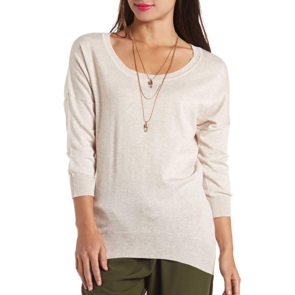 High-Low Dolman Tunic Sweater - This must-have scoop neck sweater ...