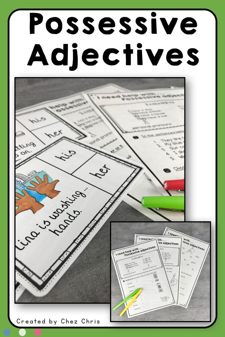 Worksheets And Clothespin Clip Cards Possessive Adjectives New