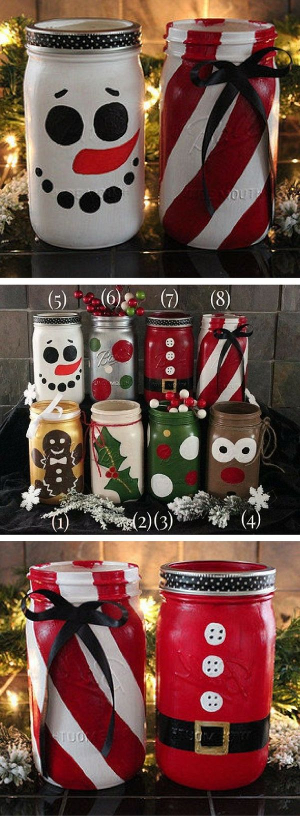 Hand painted Christmas mason jars! Holiday Mason Jars - Snowman Jar - Santa Jar - Reindeer Jar - Gingerbread Man Jar - Santa Clause decor, Christmas decor, Rustic Christmas, Farmhouse Christmas gift #ad by henrietta #rustikaleweihnachten