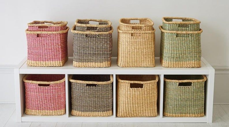 Zangira Handwoven Ghanaian Square Storage Basket Black Stripe