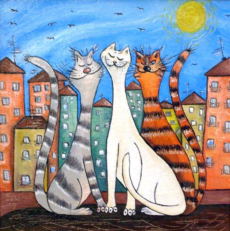 коты декоративные картины поверх