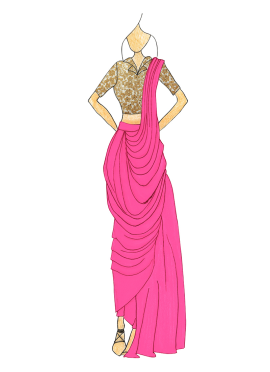 Love Potion Pink Georgette Pre Draped Saree Fashion Illustration Sketches Fashion Design Sketches Dress Sketches