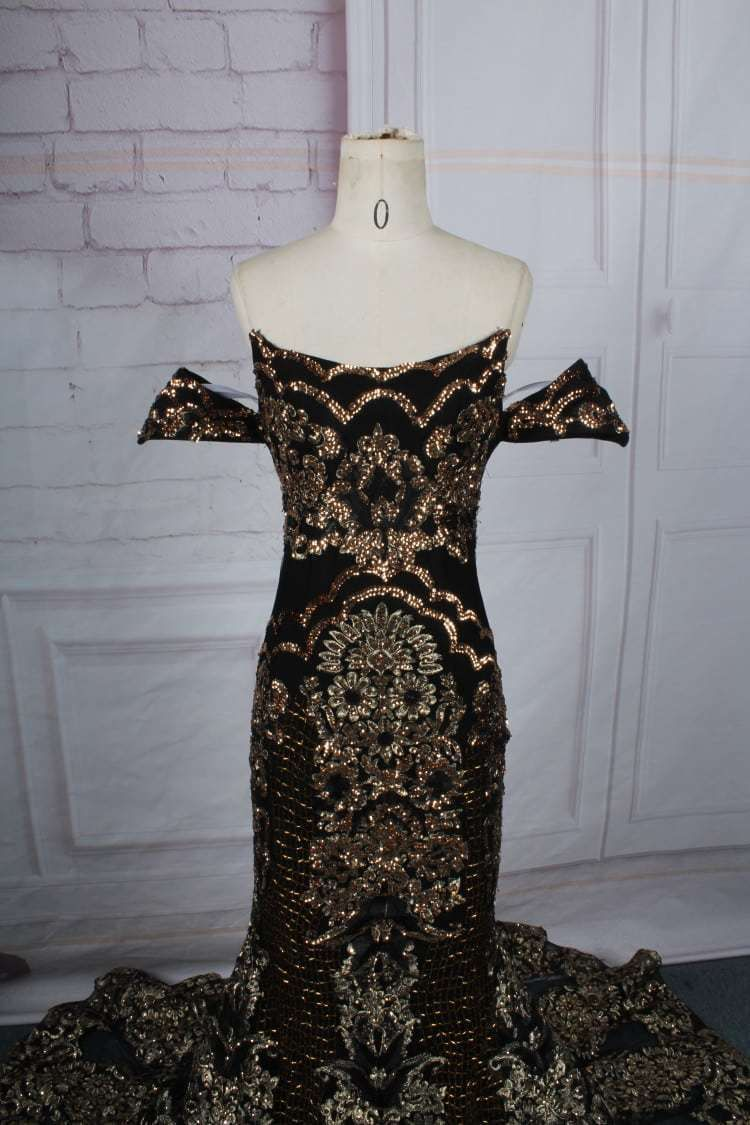 Style #0526 black and gold darius cordell pageant evening gown
