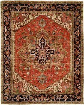 Hri Serapi Heritage Sh 14 Red Blue A 9 X 12 Area Rug Hand Knotted In India With The Softest 100 Wool Pile Hri S Heritage Serapi Collection Emulates Halilar