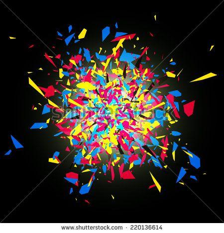 cmyk abstract bright explosion design over dark background から