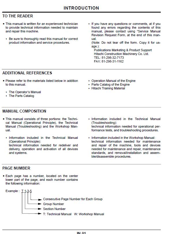 Hitachi Ex75ur 5 Ex75us 5 Excavator 1 Technical Manual Hitachi Manual Excavator