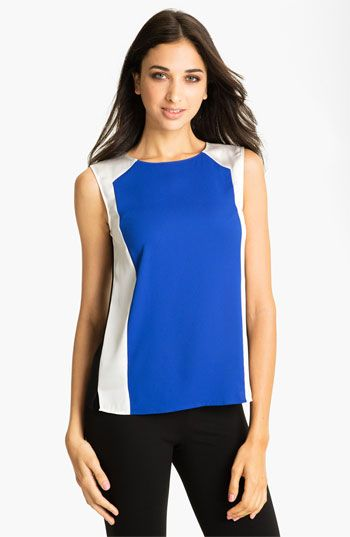 Vince Camuto Colorblock Mixed Media Shell available at #Nordstrom