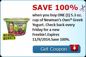 Freebie – Newman's Own Greek Yogurt – Exp. 11/9/14