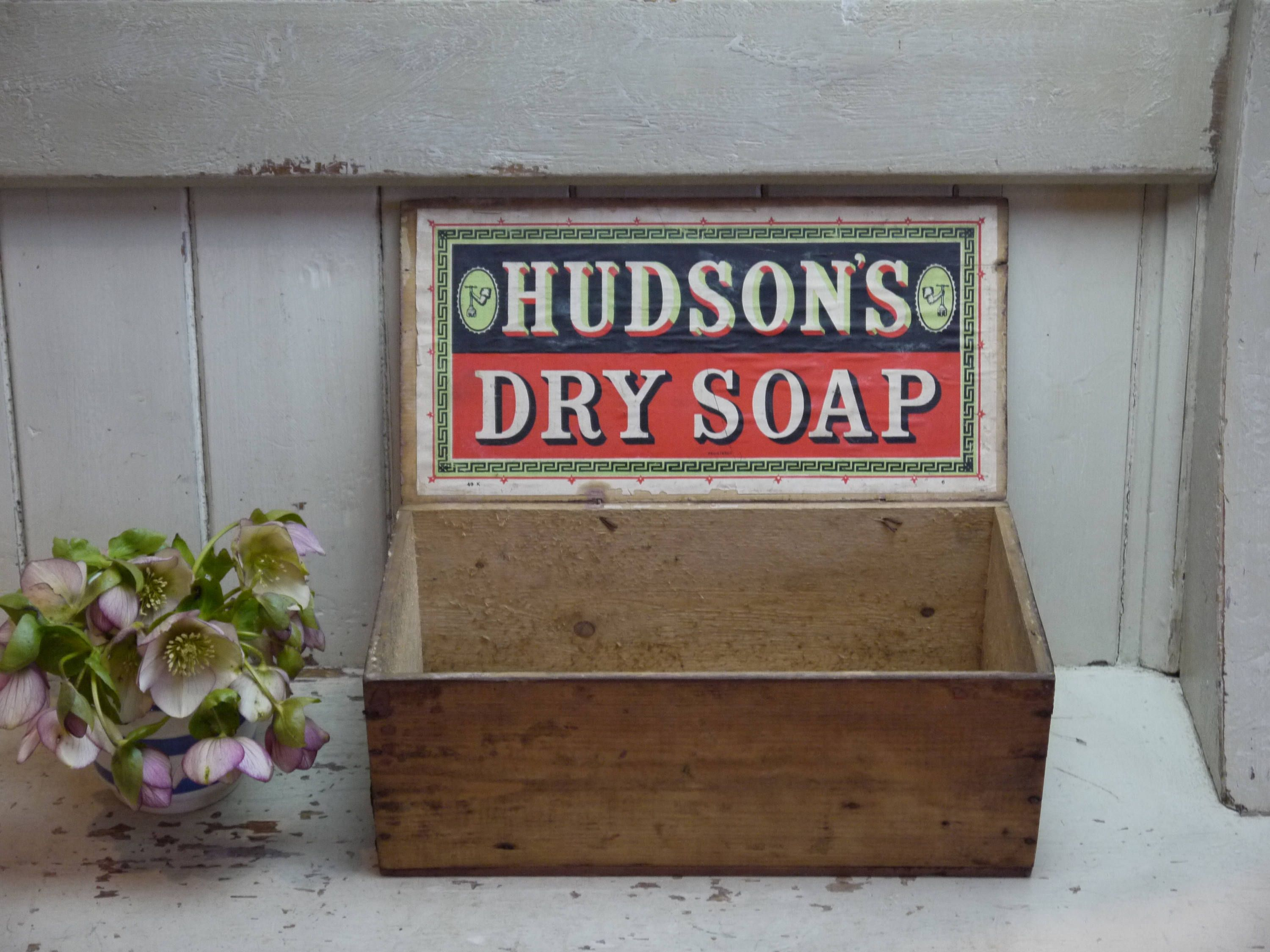 Wedding post box decorations  Antique Wooden Crate  Hudsons Soap Box  Antique Advertising
