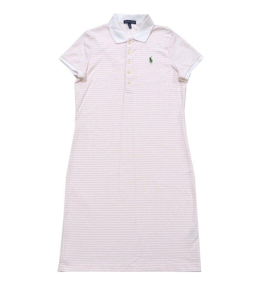 NWT Ralph Lauren Polo Shirt Dress Rose Pink Quartz Green Polo Pony SIZE L  NEW