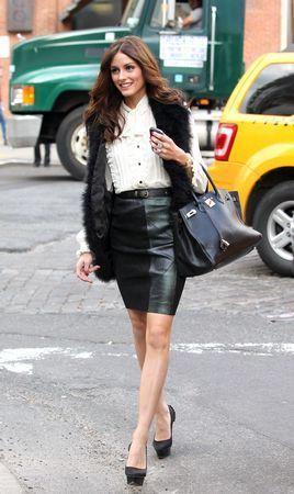 Olivia Palermo carrying a Hermes Birkin handbag
