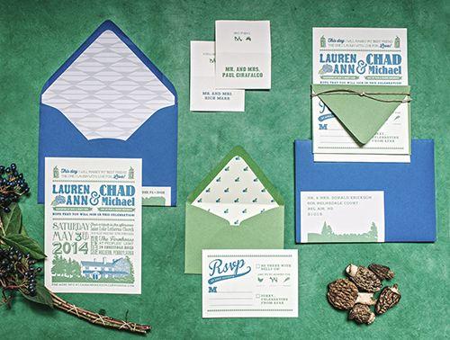 Blue and green spring wedding invitation by Shindig Bespoke