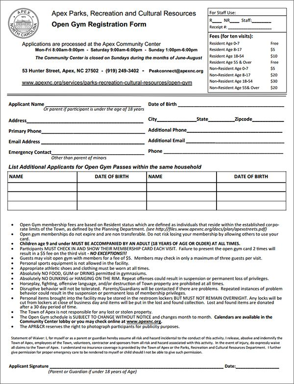 Gym Membership Registration Form  Leading Ladies    Gym