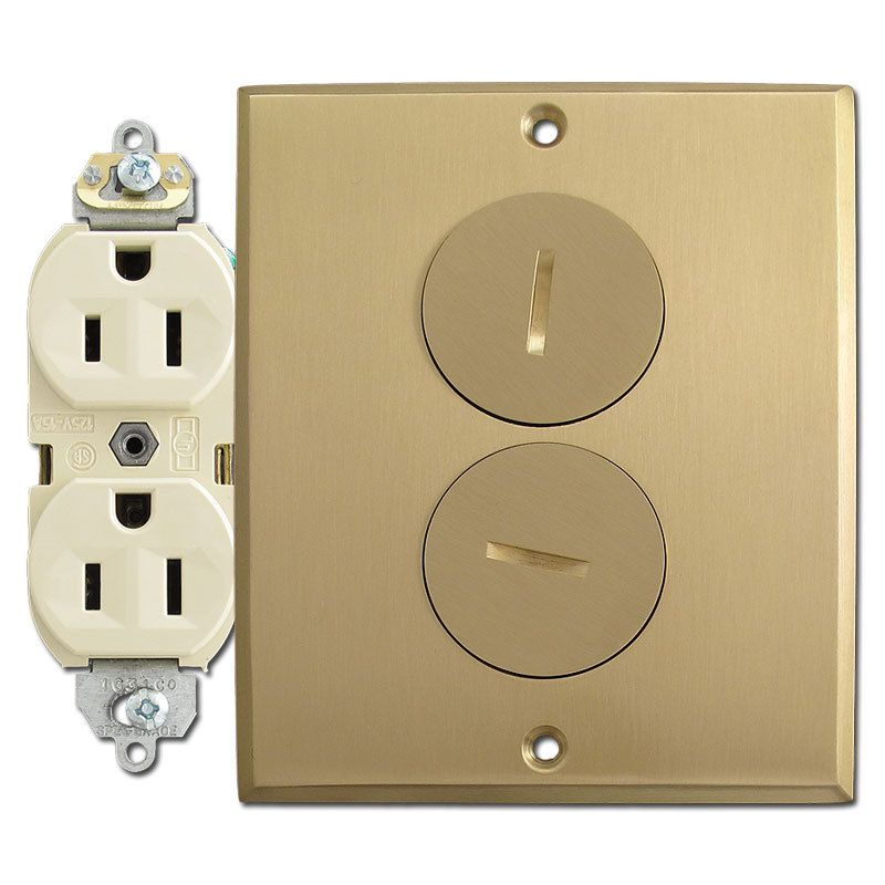Brass cover plates floor outlets gurus floor for Floor receptacle