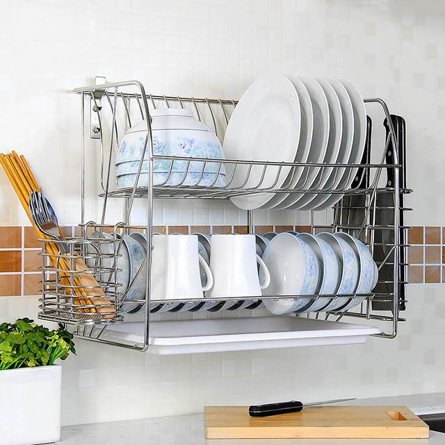 Source Sliver Stainless Steel Wall Mounted Dish Drying Rack Drainer Organizer Quality Assurance Economic Dish Rack Drying Diy Dish Drainers Drying Rack Kitchen