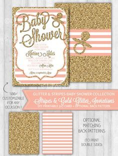 Baby shower invitations blush pink stripes gold glitter shower girl baby shower invitation blush pink gold glitter by wonderbash 1000 filmwisefo