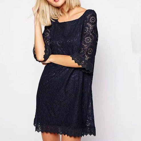 437f514f391d2 Aliexpress.com : Buy QZ1856 New Fashion Lady Elegant stylish lace floral  spliced Dress O neck three quarter sleeve vintage casual slim brand dress  from ...