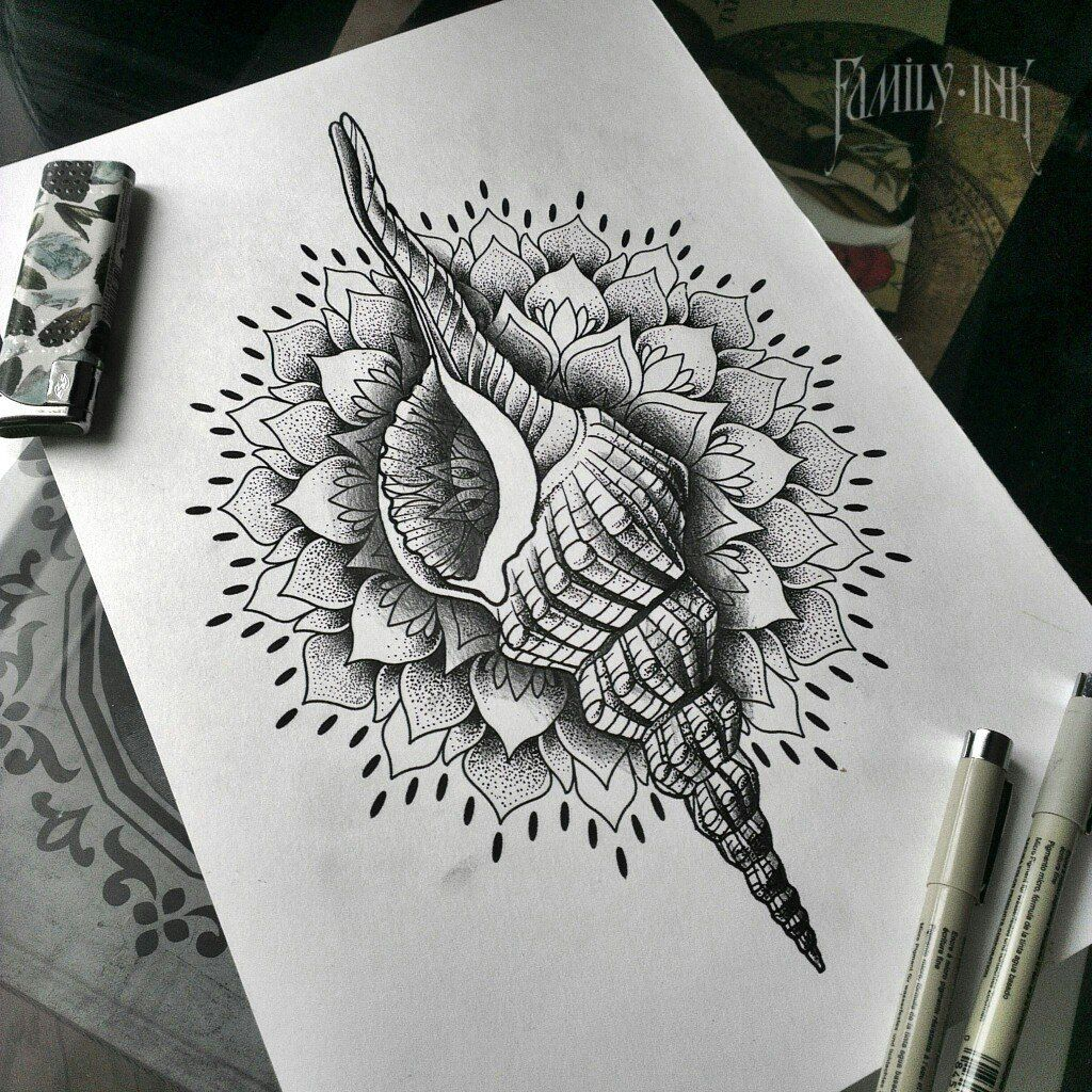 3e3039f96 Shells tattoosketch by Family Ink #dotworktattoo #familyink #mandala  #ornamentaltattoo