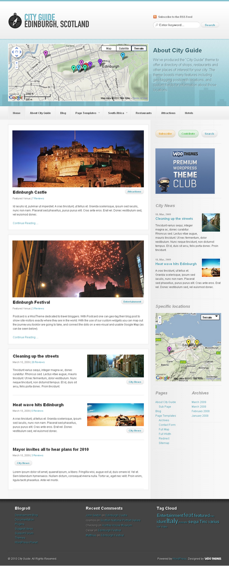 City Guide By Woothemes City Guide Travel Wordpress Themes City