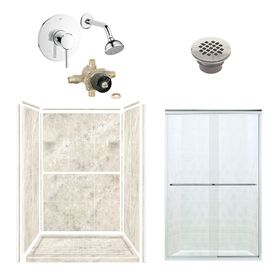 Style Selections Silver Mocha Solid Surface Walls And Floor 6 Piece Alcove Shower Kit