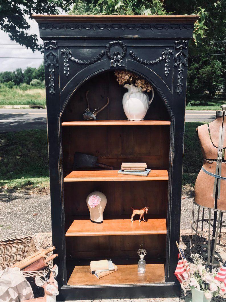 Black gothic modern farmhouse bookshelf display shelf