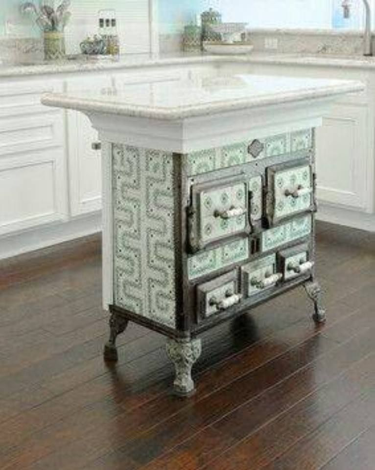 Vintage stove repurposed into kitchen island decor for Antique kitchen island