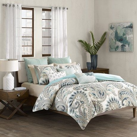 OLLIIX - Mira 200TC Duvet Cover Mini Set Full/Queen Blue