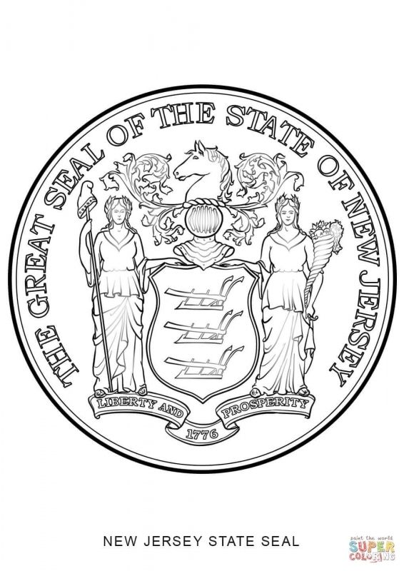 New Jersey State Seal Coloring Page Free Printable Coloring Pages