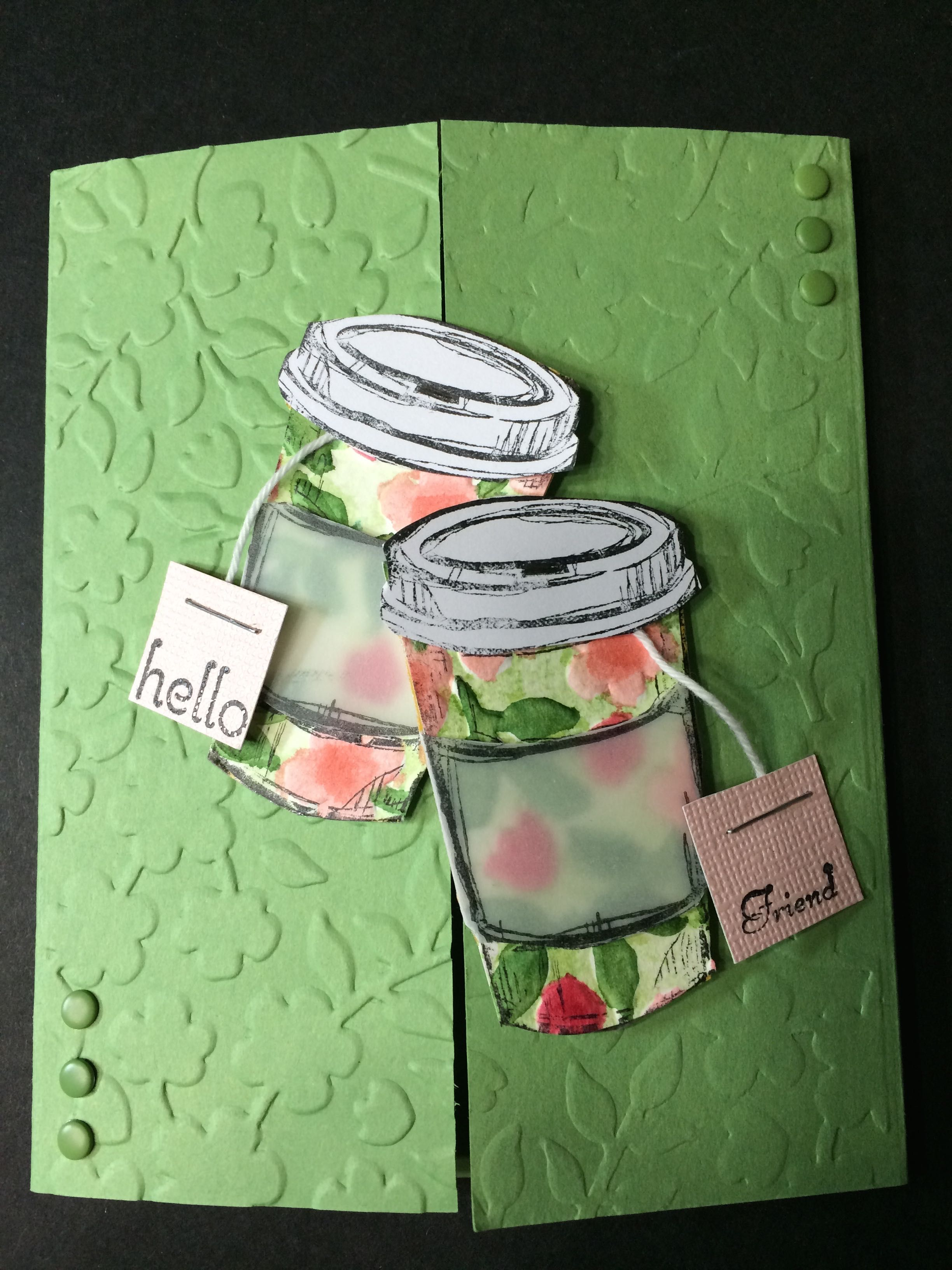 Time for Tea!  Perfect Blend stamp set by Stampin' Up! with Interlocking Gatefold designed card.  The cups are decorated with Spring Garden Embossing Folder as well as the card background.  Card by Beverly Stewart