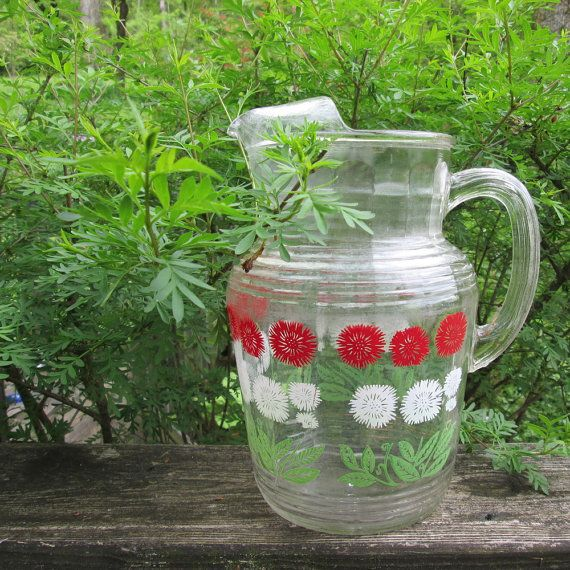 Red Kitchen Glassware: Vintage Hazel Atlas Pitcher