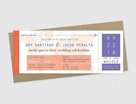 Boarding Pass Plane Ticket Printable Wedding Invitations - plane ticket template