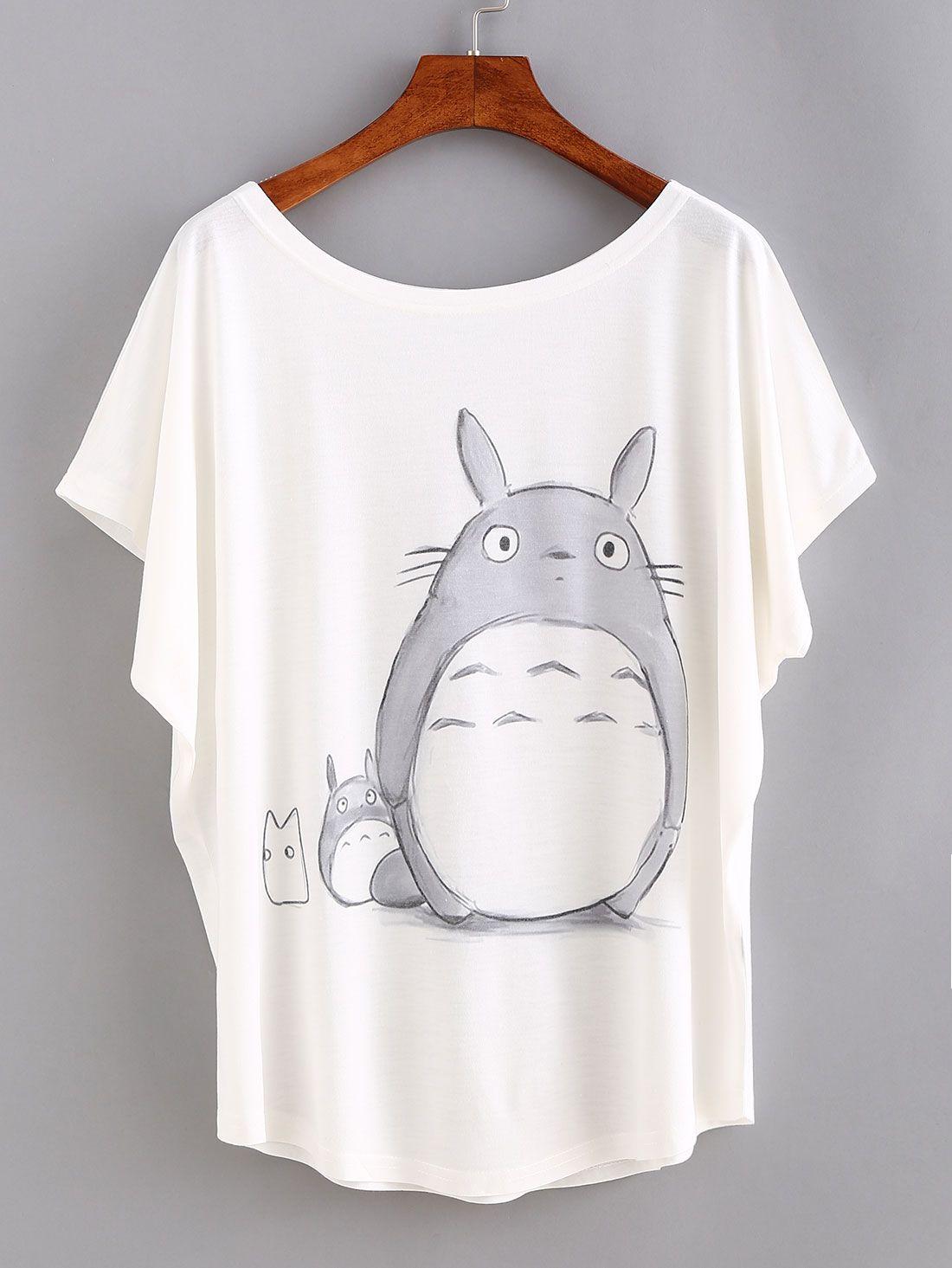 t-shirt mit fledermausärmeln und cartoon druck lässig