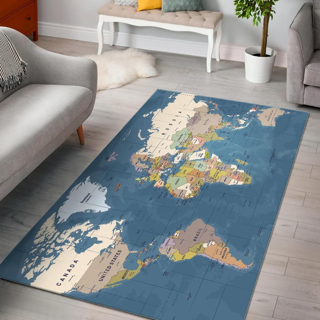 Blue World Map Area Rug World Map Rug Rugs Map Rug